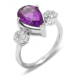 2,64 ct Amethyst Diamant Ring