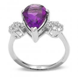 2,64 ct Amethyst Diamant Ring
