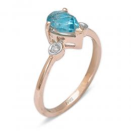 1,48 ct Blautopas Diamant Ring