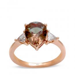 Damenring Goldring mit Zultanit und Diamanten aus 585/-14 Karat Rosegold
