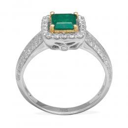 0,68 ct Smaragd Diamant Ring