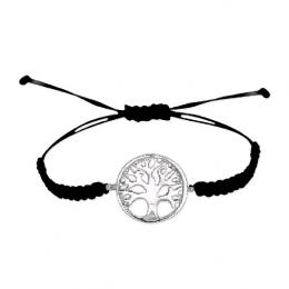 Silber-Seide Armband mit Lebensbaum Muster