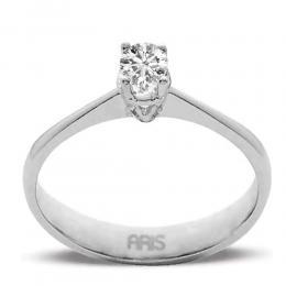 0,11 ct Diamant Solitärring mit soliden 4- fach Krappenfassung
