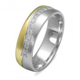 585er Weiβ-Gelbgold Diamant Trauring