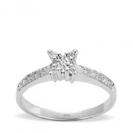 0,21 ct Solitaire Diamant Ring mit seitlichen Steinen