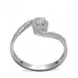 0,25 ct Diamant Solitärring,geschwungen mit seitlichen Steinen