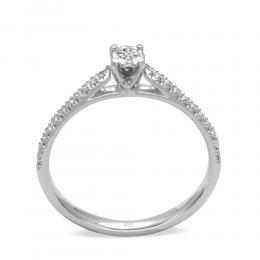 0.19 Ct. Brilliant Solitaire Ring. 4-fach Krappenfassung mit seitlich gefassten Brillanten